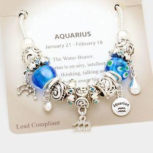 Multi Bead Antique Style Aquarius Charm Bracelet